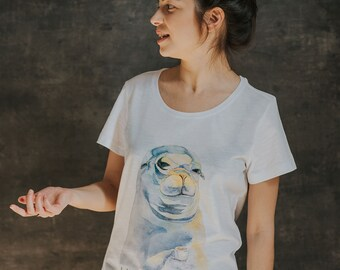 T-shirt with a seal, print, eco-cotton, print of watercolor, man/woman tshirt, with a shild on the bottom, unique design, okay zen design