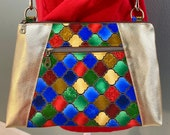 Crossbody Bag, Shoulder Bag, Medium Purse, Gold Vinyl and Colorful Stained Glass Cotton Fabric w adjustable crossbody strap, ONE OF A KIND