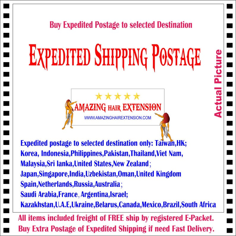 Buy Extra Expedited Mail postage to selected Destination & Worldwide