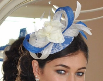 Royal blue and cream feather fascinator, blue and ivory fascinator, wedding races fascinator, mother of the bride groom fascinator
