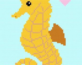 Baby Seahorse Love Baby Blanket Afghan Crochet Pattern (Boy)