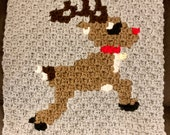 Reindeer Rudolph Christmas Crochet Pattern Throw Pillow PDF Graph Row by Row Written Color Block Instructions Blanket Afghan C2C Motif 25x25