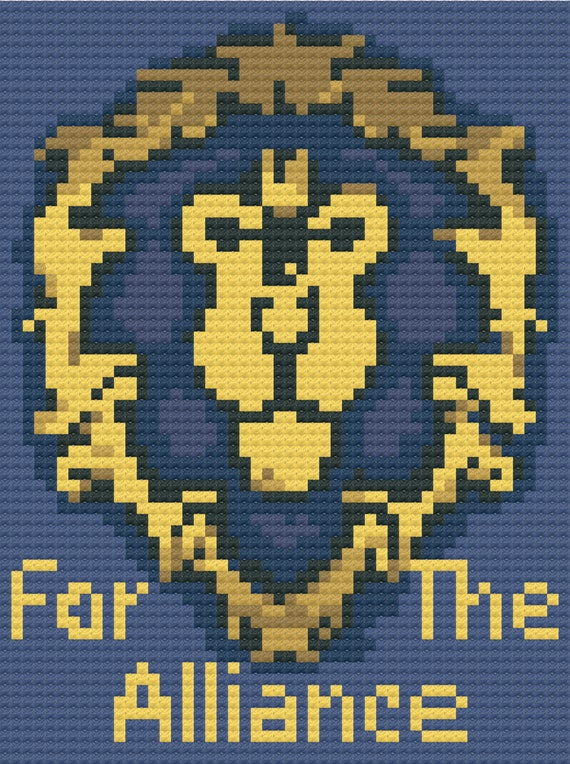 For The Alliance WoW C2C Crochet Pattern PDF Graph & Written Instructions  Blanket Afghan 50x67 World of Warcraft Tribe Symbol Blue Gold