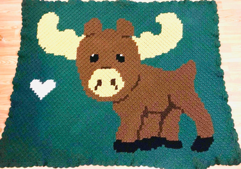 Baby Moose Love Crochet Pattern PDF Graph Written Instructions Boy Blanket Afghan Color Block C2C SC Block St Bobble Mini C2C TSS Afghan St