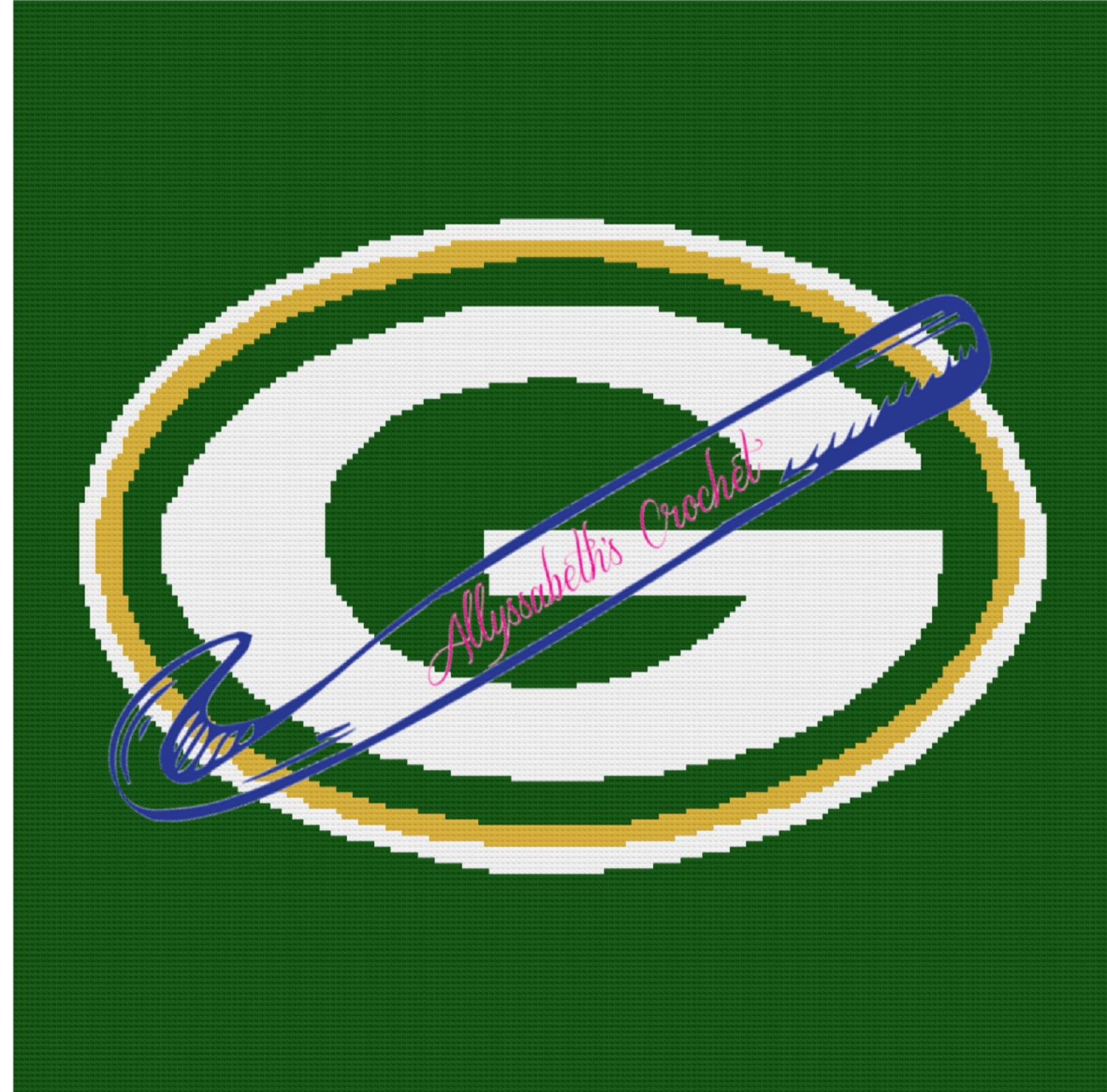 98bb746d Green Bay Packers Afghan Graphghan Single Crochet Pattern Graph Row by Row  Written Instructions Logo NFL Football Cheesehead Wisconsin C2C