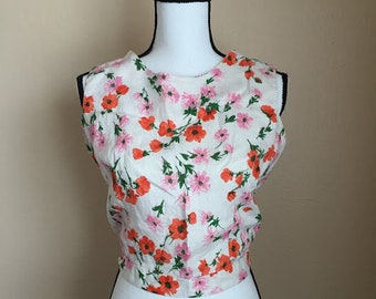 60's vintage cropped floral blouse