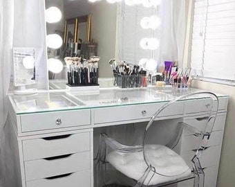 Custom Hollywood Glamour Vanity Station: Lighted Mirror W/ Built In Outlet  And 13 Drawer Table W/ Glass Table Top   More Colors Available