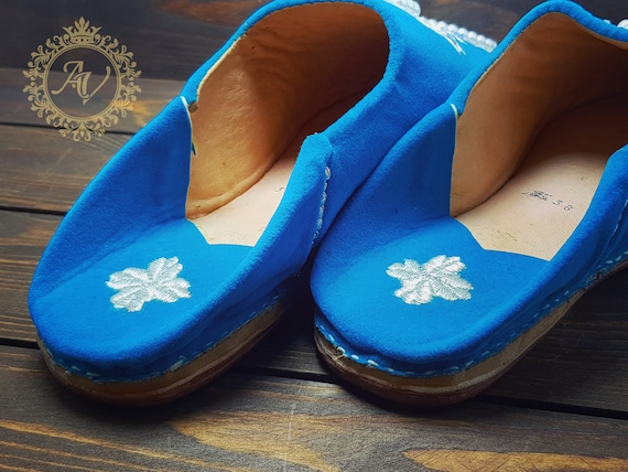 Slippers Blue Slippers Shoes Suede Babouche Babouche Suede Sheepskin Pointed Mules Moroccan Moroccan Handmade Women Slippers aqURRdz