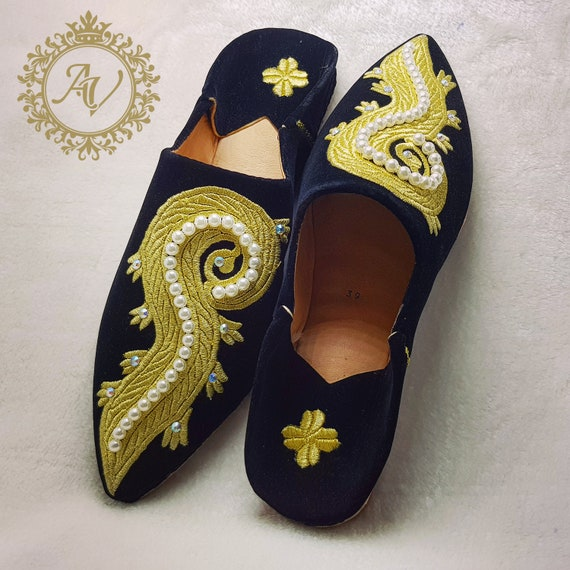 Suede Women Black Slippers Gold Pointed Sheepskin Handmade Moroccan Suede Moroccan Babouche amp; Slippers Slippers Babouche tRq8A8Hw