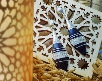 Vintage Beautiful Ebony Earrings Silver 925 Handmade Engraving African Tuareg Fashion
