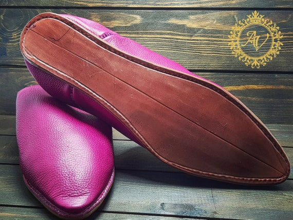 Handmade Moroccan Moroccan Slippers Slippers Leather Babouche Sheepskin Suede Pink Slippers Women Babouche Pointed 6nrTvXrW