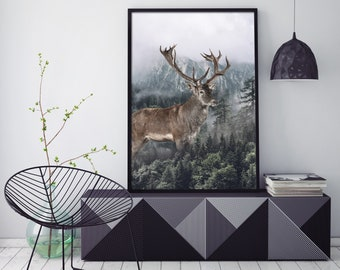 Deer and Forest | Poster | Home Office Decor | New Art Print | Any print size /70x100, 50x70, 50x50, 30x42/