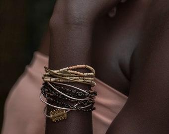 Boho Chic Convertible Bracelet & Choker in Organic Termite Beads, Brass Sun Floating Charm, Metallic Gold Leather