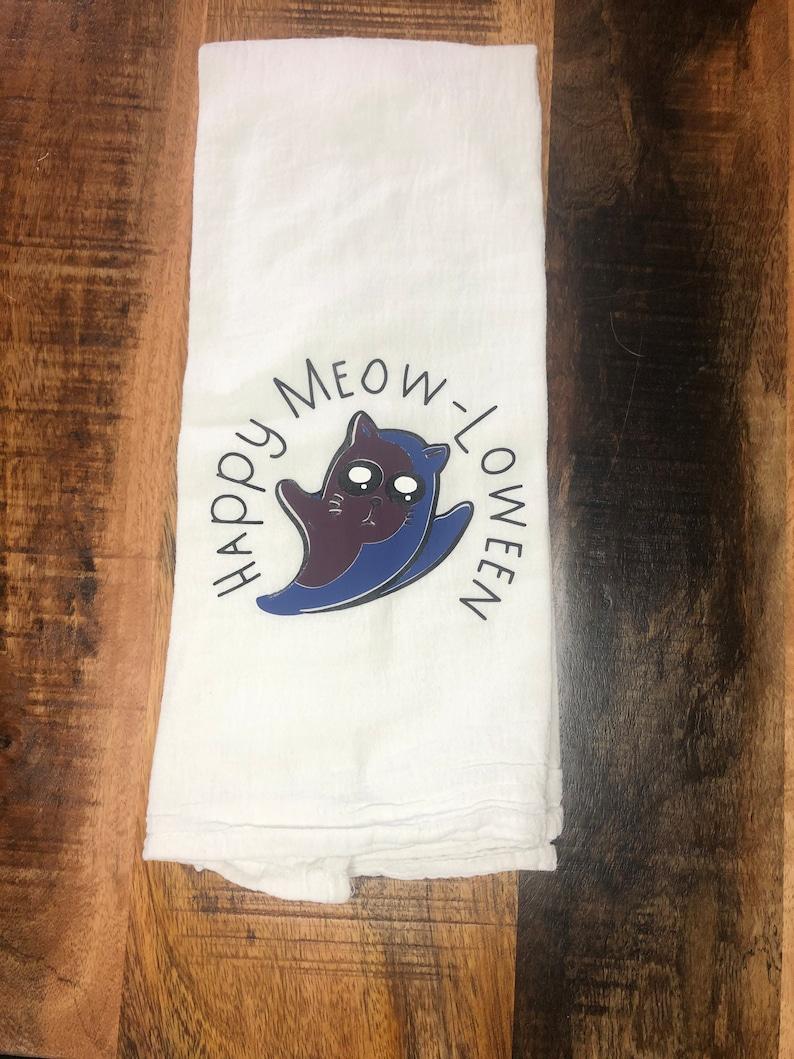 Happy Meow-loween tea towel. Halloween Cat Pun Flour Sack image 0