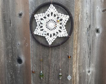 Brown Leather Crochet Boho Dreamcatcher