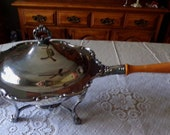 Vintage Silver Plate Ornate 5 Piece Chafing Fondue Set Wooden Handle Alcohol Burner