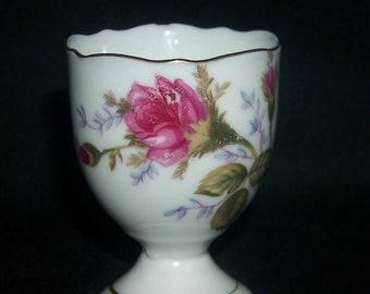 Vintage B P Japan Porcelain Egg Cup Pink Rose Design White Pink