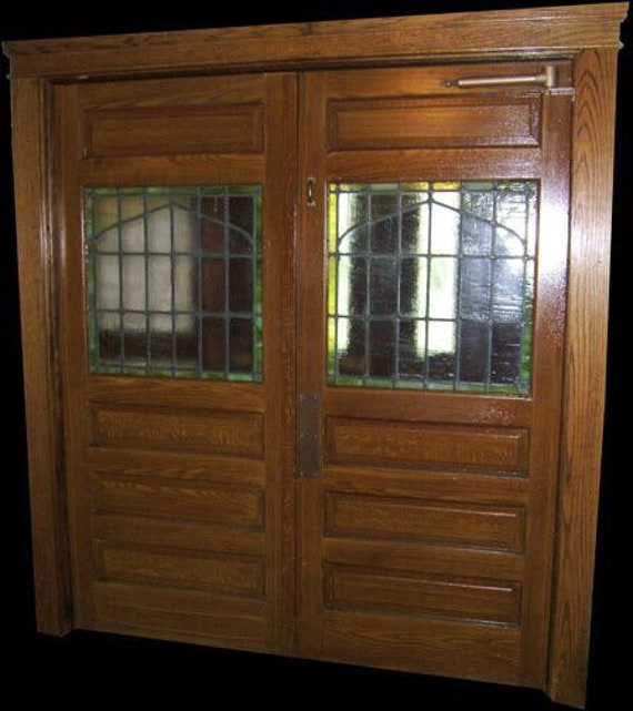 Vintage Stained Glass Double Doors Etsy