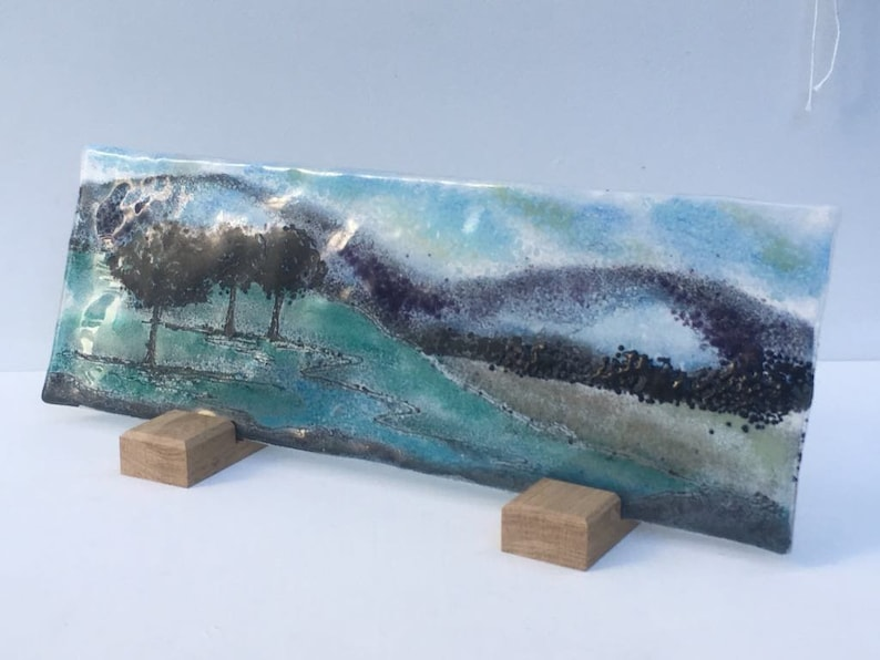 A set of 2 long Wooden Display Stands for display of larger Fused Glass works in natural unfinished Oak