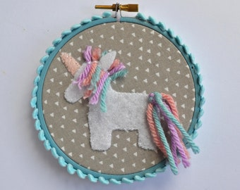 Unicorn Wall Art, Unicorn Gift for Girls, Felt Wall Hanging, Embroidery Hoop, Hoop Art, Fabric Wall Art, Cute Wall Decor, Nursery Decor