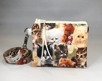 Kitty Cat Tapestry Coin Purse 2 Section Change Wallet Pouch Bag