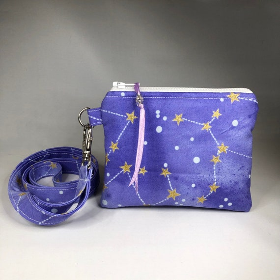 Pouch Constellation Coin Purse Night Sky Coin Purse Mini Wallet Great Gift! Neck Wallet Optional Lanyard Change Purse Gold Stars