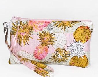 Pineapple Wristlet Purse, Tropical, Cruise, Rhinestone, Wristlet, Purse, Clutch, Bag, Phone Holder, Make Up Bag, Gift For Her