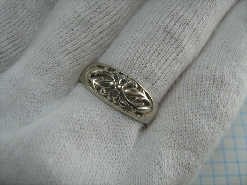 SOLID 925 Sterling Silver Ring Band Floral Flower Leaves Motif Openwork US size 7.75 Vintage Old Jewelry Jewellery 815