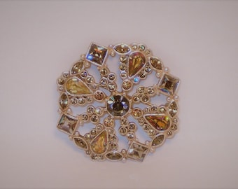 "Vintage Signed AK Anne Klein Silver Tone And Multi Color Stones 2"" Snowflake Style Brooch/Pin"