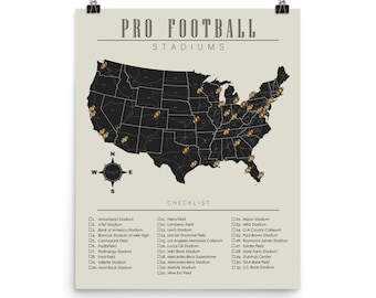 NFL Stadiums Checklist Map Poster c6e496a54