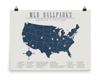 Baseball Stadium Map Etsy - Map-of-us-baseball-stadiums