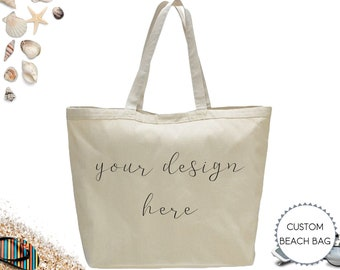 439f6f7df Custom Heavy Canvas Beach Bag, Personalized Large Tote Bag, Beach Lover Gift  for Her