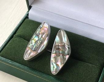 Modernist Abalone Shell Brooch Arne Johanen Sterling Silver Denmark