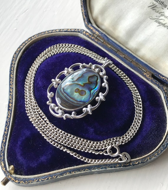 circular abstract sterling silver and abalone mother of pearl MOP vintage brooch  pendant