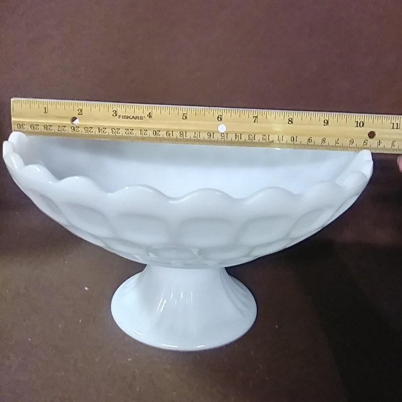 Vintage Westmoreland milk glass pedestal bowl Honeycomb pattern