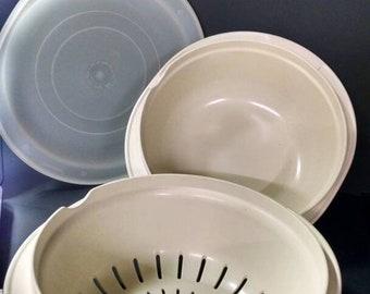 Vintage tupperware  ovenproof and microwave proof, 2 quart casserole, colander, steamer.