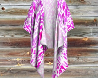 "Kimono, ""Flowering, Flowering Pink"", Vacation, Flower, Cover Up, Beach, Boho, Bohemian, Ethically Made, Watercolor, Abstract,Gypsy, Everyday"