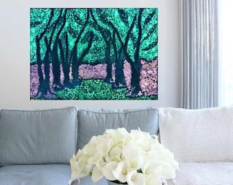 "Art Print, ""Dream Walk"", watercolor trees"