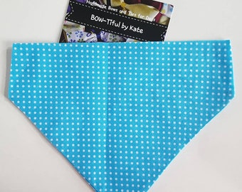 Dog Bandana - turquiose spot design, Gift for dogs, accessories, dogs, neck tie, gift, grooming, present