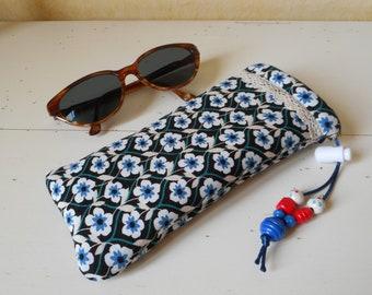 192749d3c18 Black liberty fabric eyeglasses case-pouch-handmade-glasses case in liberty  black fabric and blue flowers-handmade