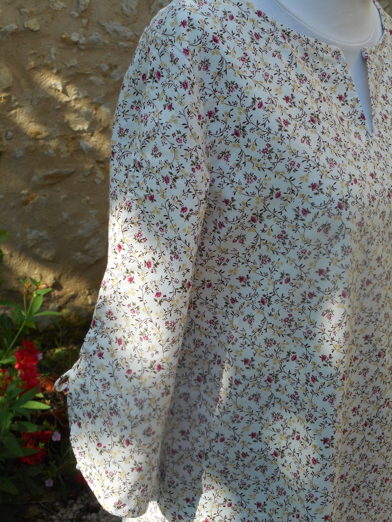Liberty pink flowers-T 38-40-Handmade-Tunic or top in Liberty fabric pink flowers-T 8-10-Handmade