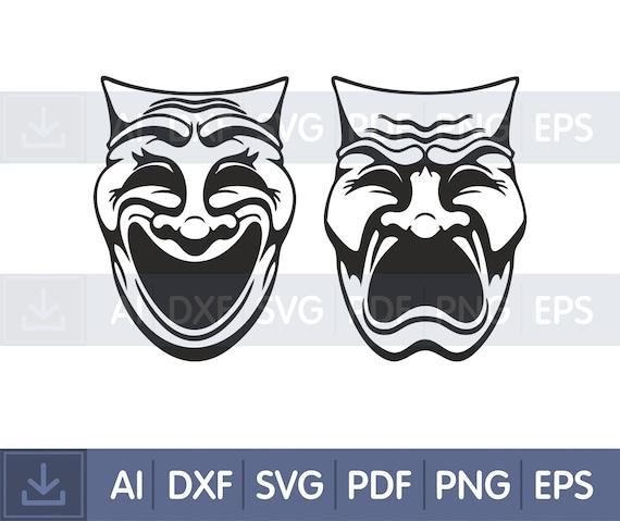 Drama Masks SVGDXFGraphic Art Cut file