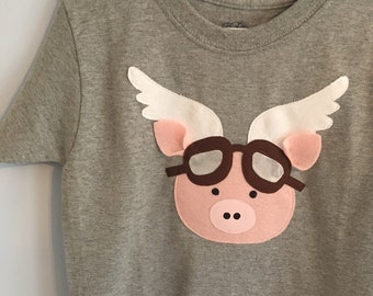 When Pigs Fly Applique Onesie or Shirt