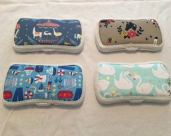 Fabric Covered Travel Wipes Case