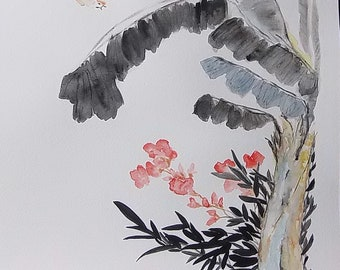 """Print of an old Chinese """"Spring tree"""" painting"""