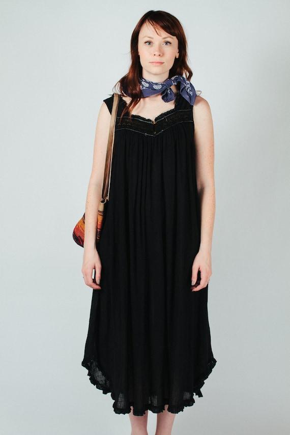 Vintage Black Gauze Nightgown Vacation Dress XS-L