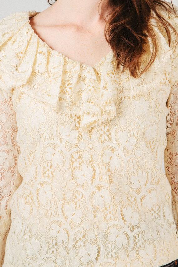 Vintage Lace Ruffle Blouse S - image 4