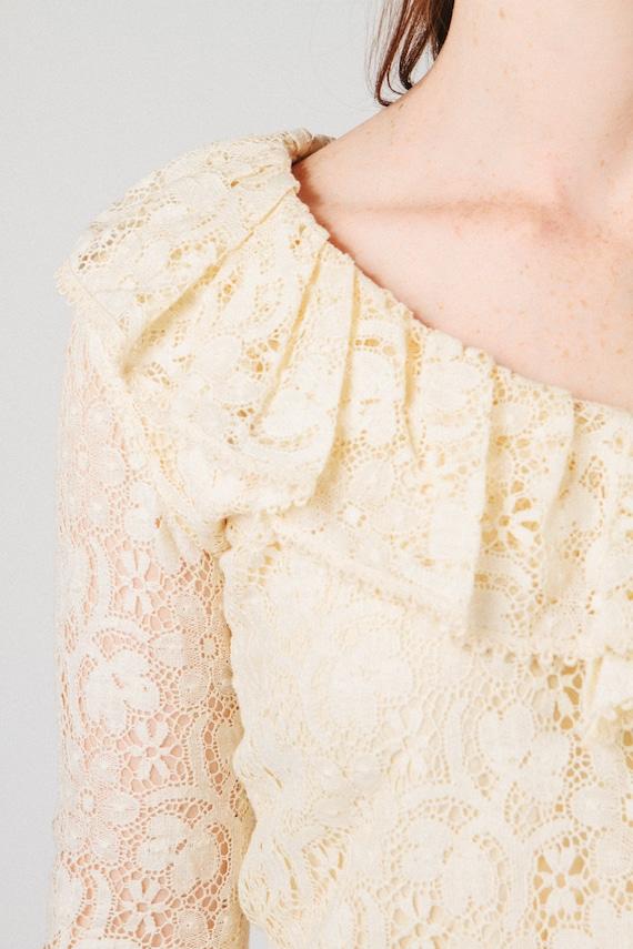 Vintage Lace Ruffle Blouse S - image 3
