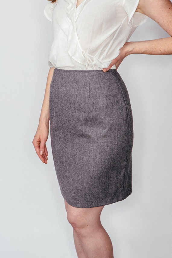 82d36f9365 Vintage Gray Wool Pencil Skirt XS | Etsy