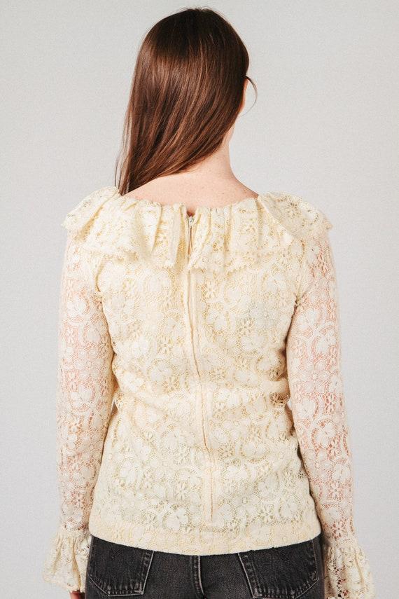 Vintage Lace Ruffle Blouse S - image 5